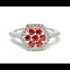 Garnet Red and White Crystal Hexagonal Ring Size 8